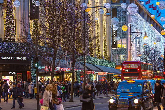 shoppen in Londen kerstdagen